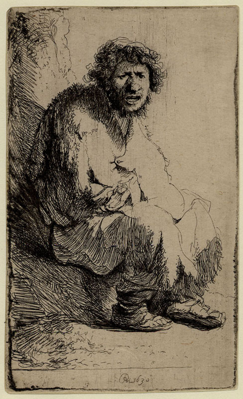 "Rembrandt, "" Beggar Seated on a Bank, monogrammed RHL and dated 1630"""