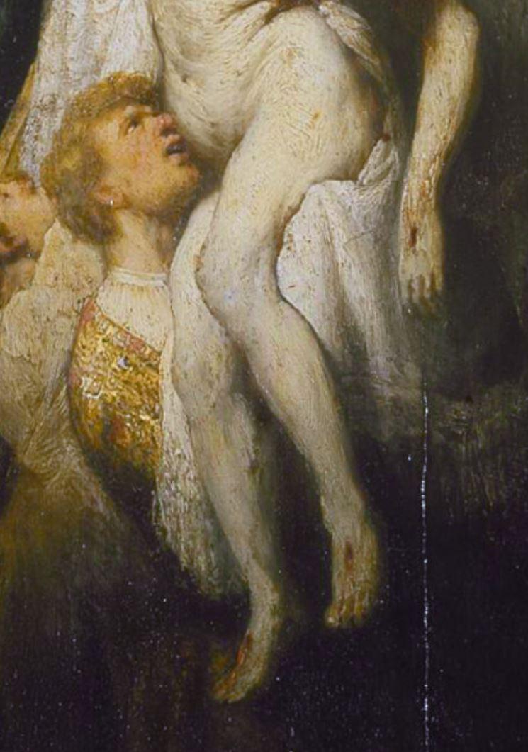 Rembrandt 1633 Descente de Croix, Alte Pinakothek Munich detail