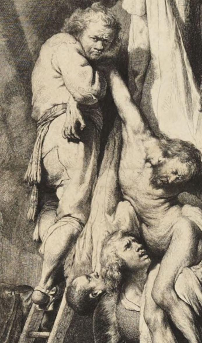 Rembrandt 1633 Descente de Croix gravure detail