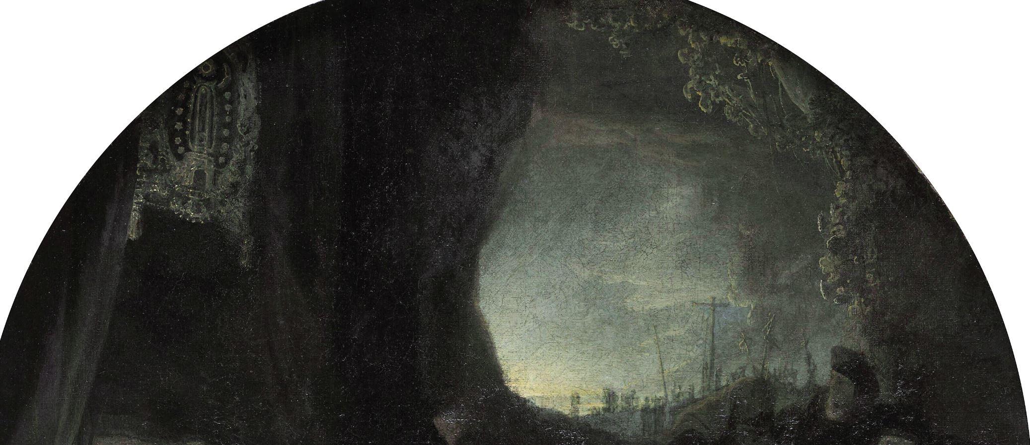 Rembrandt 1636-39 Mise au tombeau Alte Pinakothek Munich detail ouverture