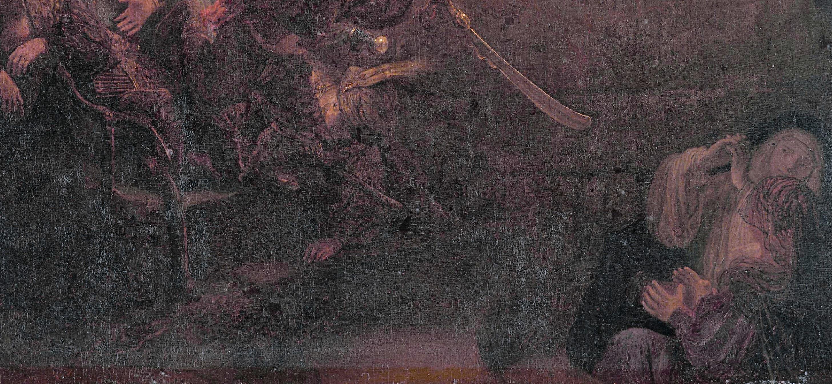 Rembrandt 1636-39 Resurrection Alte Pinakothek Munich contrebas