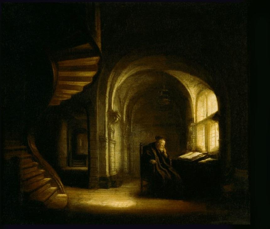 Rembrandt 16445 ca Le philisophe au livre ouvert Louvre