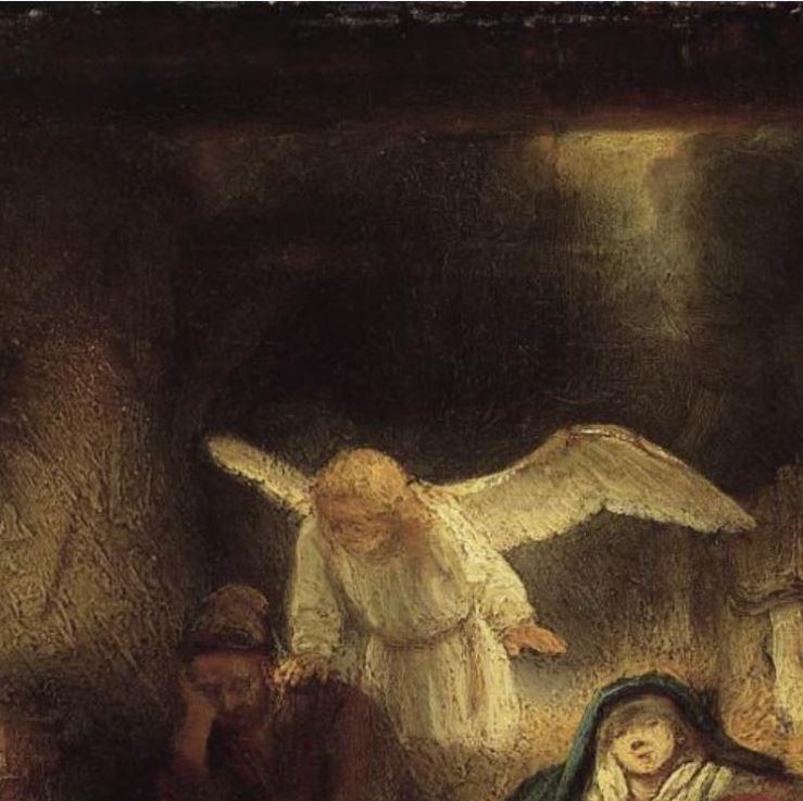 Rembrandt 1645 Le reve de Joseph dans l'etable de Bethleem Gemaldegallerie Berlin detail lumiere