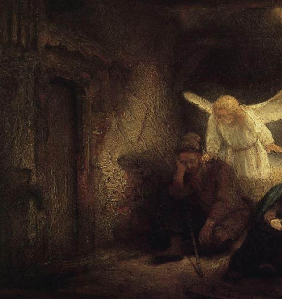 Rembrandt 1645 Le reve de Joseph dans l'etable de Bethleem Gemaldegallerie Berlin detail porte