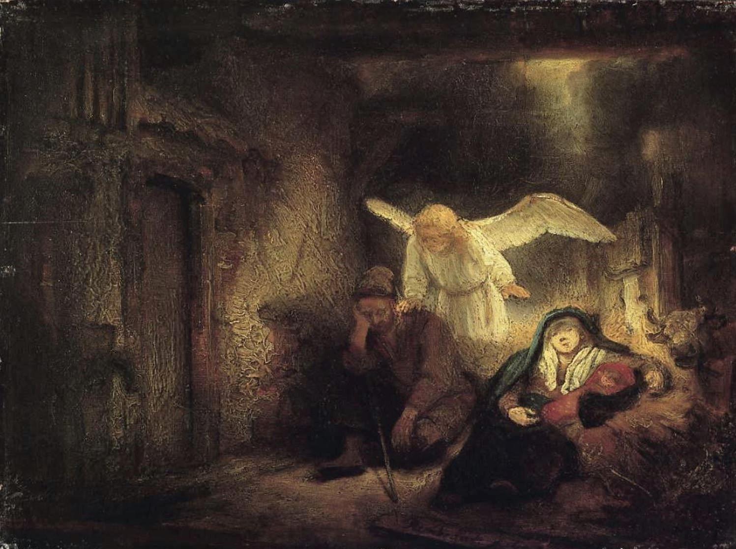 Rembrandt 1645 Le reve de Joseph dans l'etable de Bethleem Gemaldegallerie Berlin