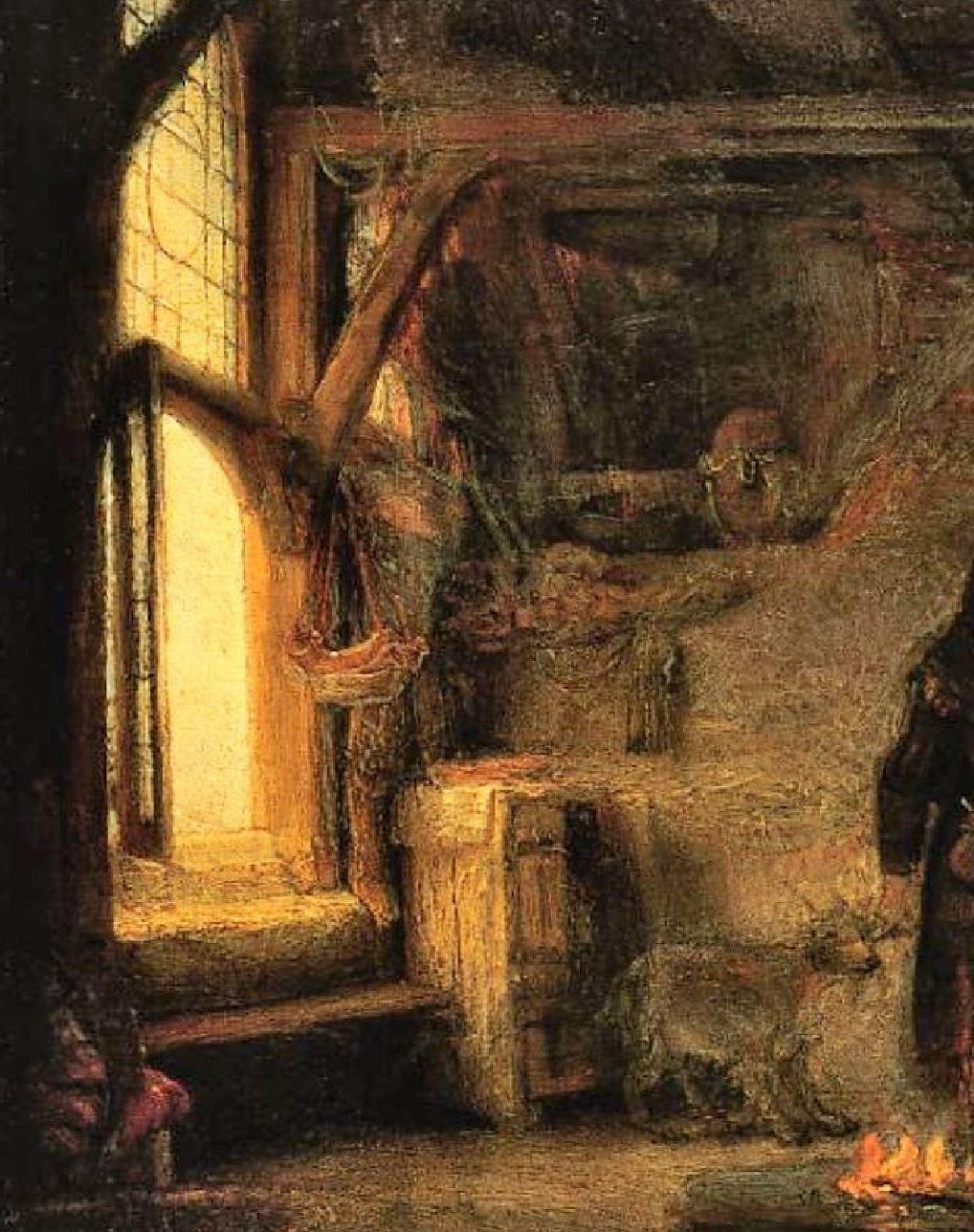 Rembrandt 1645 Tobie et Anna Gemaldegallerie Berlin detail lumiere