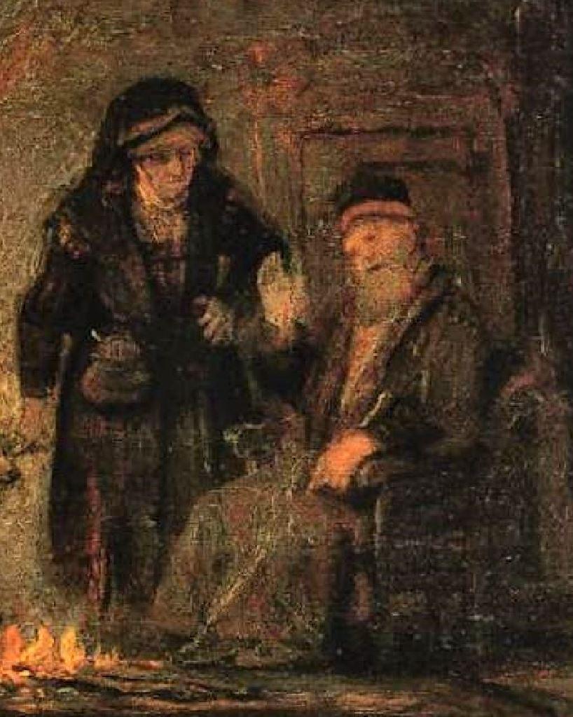 Rembrandt 1645 Tobie et Anna Gemaldegallerie Berlin detail porte