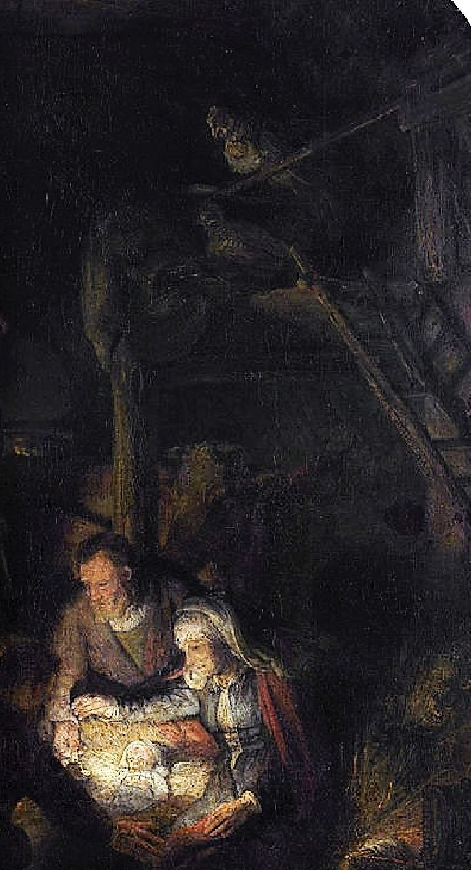 Rembrandt 1646 Adoration des Bergers Alte Pinakothek Munich detail lampe