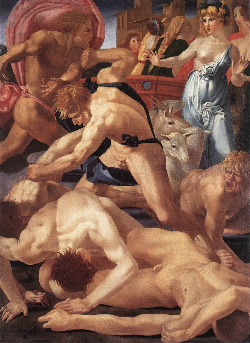 Rosso Fiorentino 1525 ca Moses_defending_the_Daughters_of_Jethro Offices