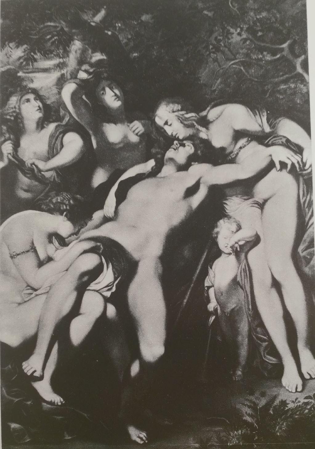 Rubens 1602-05 Venus pleurant Adonis coll priv