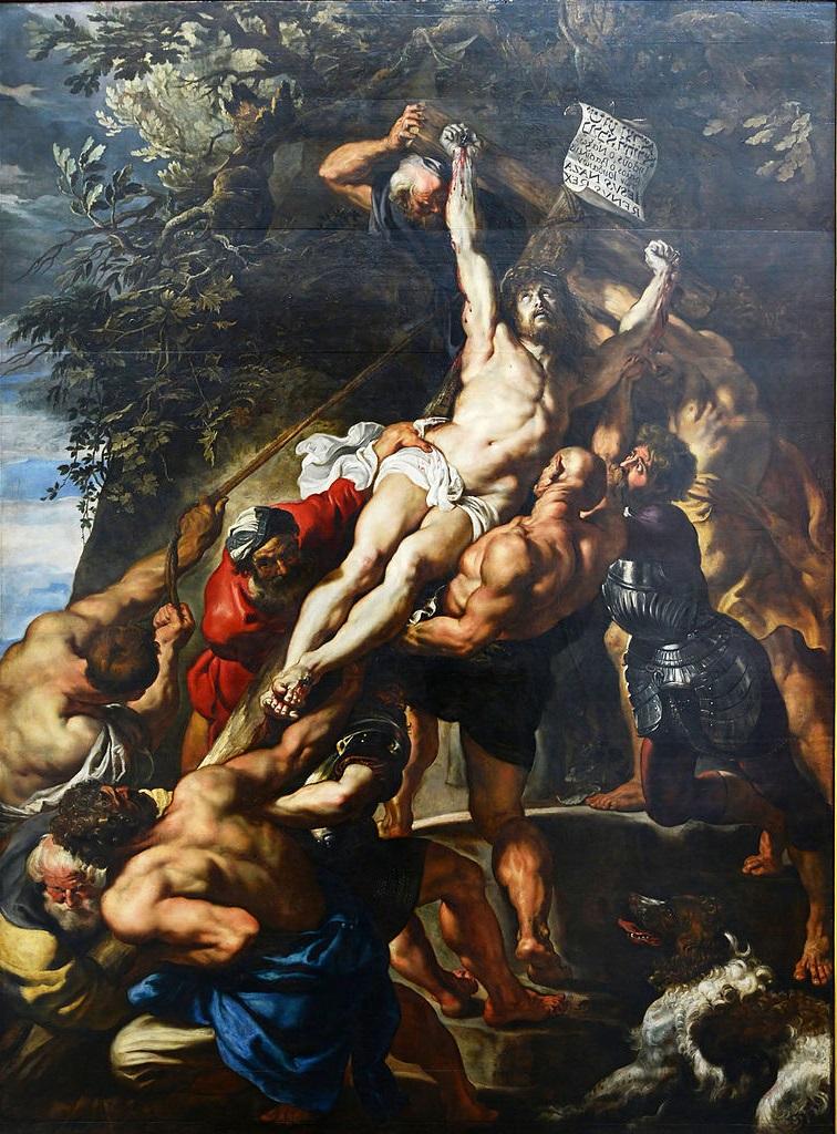 Rubens 1610-11 L'Elevation de la Croix Cathedrale Notre-Dame Anvers inversee