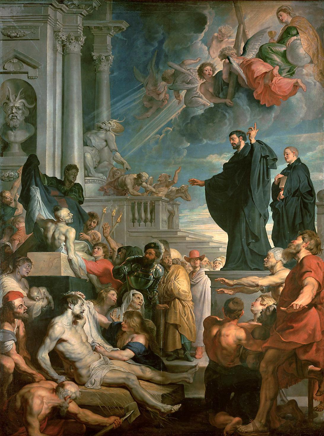 Rubens 1617-18 Les miracles de St Francois Xavier pour eglise des Jesuites à Anvers Musee d'histoire de l'art, Vienne 535 × 395 cm
