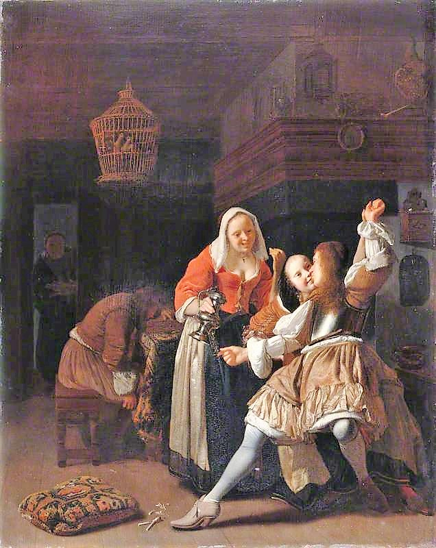 Ochtervelt, Jacob, 1634-1682; The Embracing Cavalier