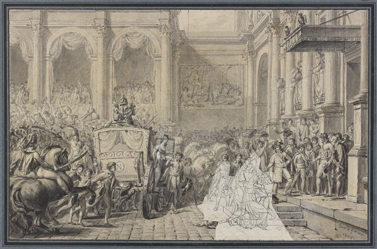 Jacques-Louis David, Arrivee de Napoleon Ier à l'Hotel de Ville, 1805, dessin à la plume sur papier (c) RMN-Grand Palais (musee du Louvre) - Stephane Marechalle