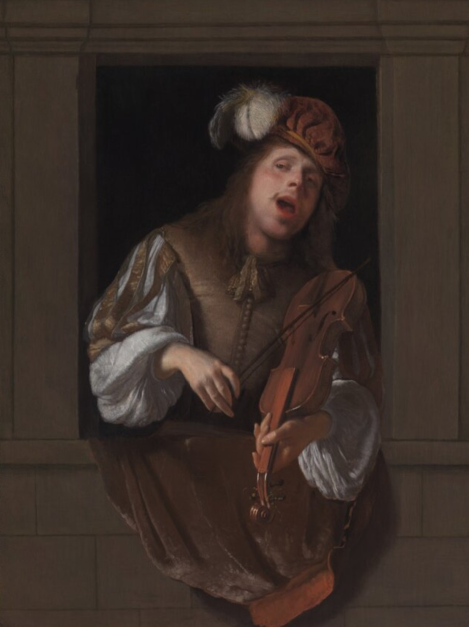 Ochtervelt 1666–70 Violonist in a window coll priv 26,9 x 19,5
