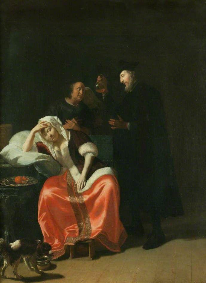 Ochtervelt-1675-Doctors-visit-Manchester-Art-Gallery