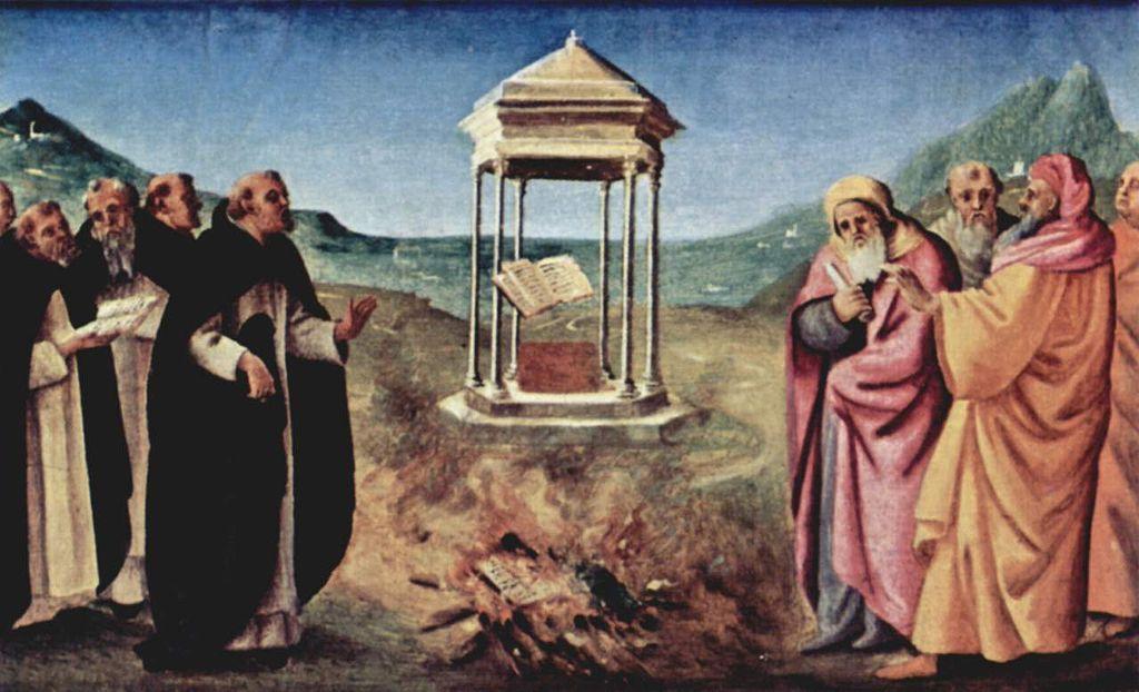 Piero di Cosimo 1485-90 Pugliese-Altar Predella, linke Szene Verbrennung der Albigenserschriften