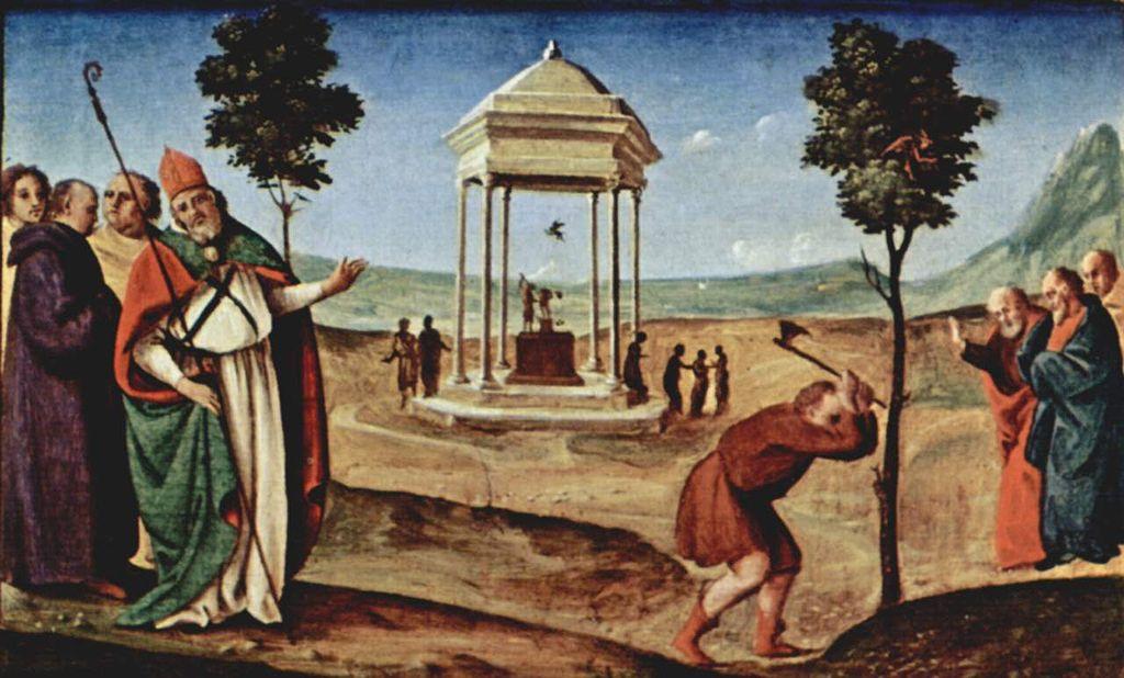 Piero di Cosimo 1485-90 Pugliese-Altar, Predella, rechte Szene Hl. Nikolaus von Bari und die Götzenbilder