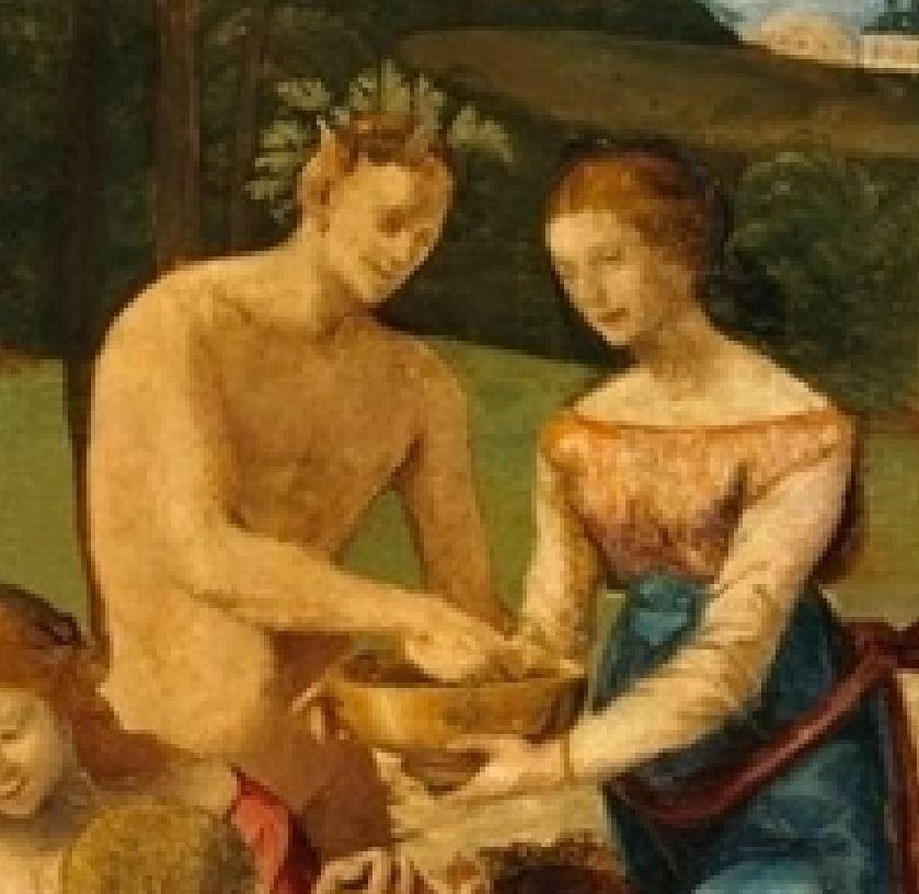 Piero di Cosimo 1500 ca Disavventure_di_Sileno Fogg Art Museum detail pan