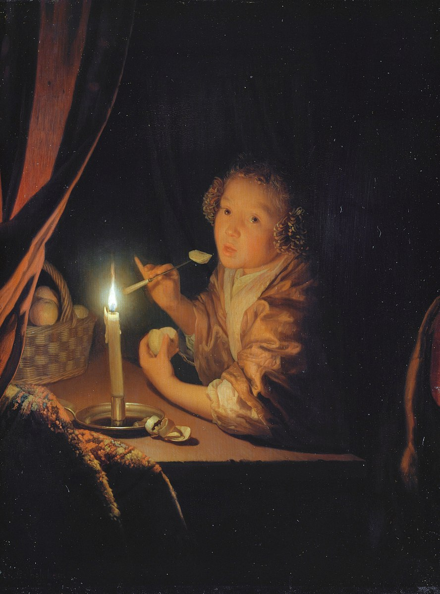 Schalcken 1682 Girl_about_to_take_a_bite_of_a_piece_of_apple_Staatliches_Museum_Schwerin