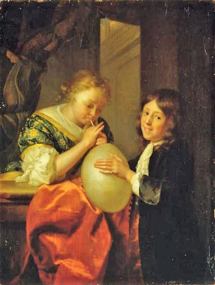 Schalcken 1682 Meisje_en_jongen_die_een_varkensblaas_opblazen_-_G_2340_-_Staatliches_Museum_Schwerin