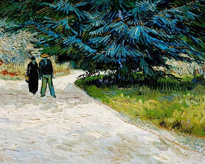 Van Gogh 1888 Couple dans un parc a Arles Jardin du Poete III