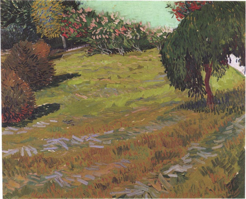 Van Gogh 1888 juillet Jardin avec saule pleureur coll priv F428