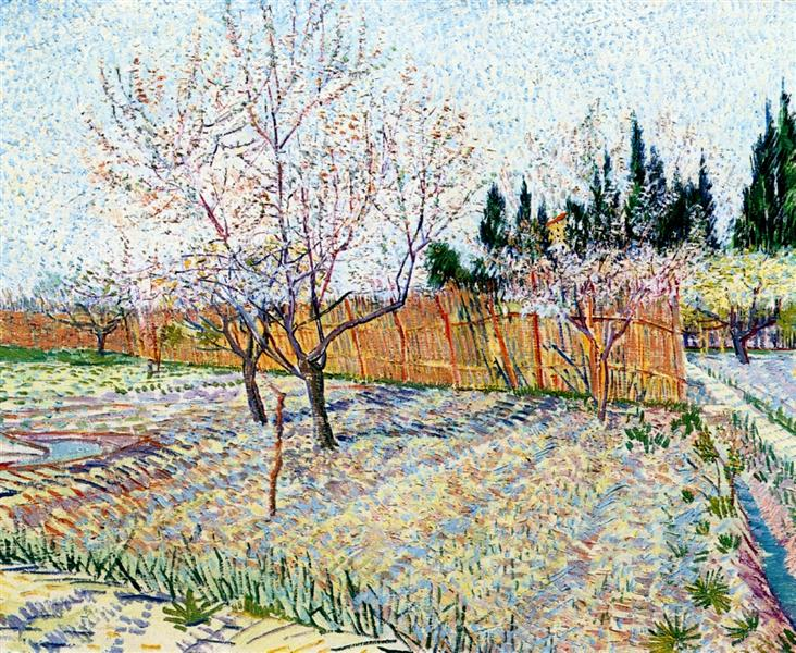 Van Gogh 1888 orchard-with-peach-trees-in-blossom coll priv