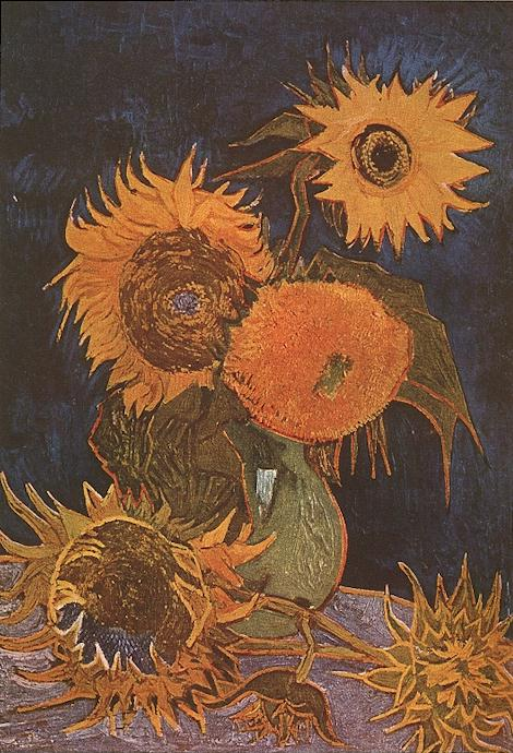 Van Gogh 1888a Vase avec cinq tournesols disparu en 1945 (F 459) 98 x 69