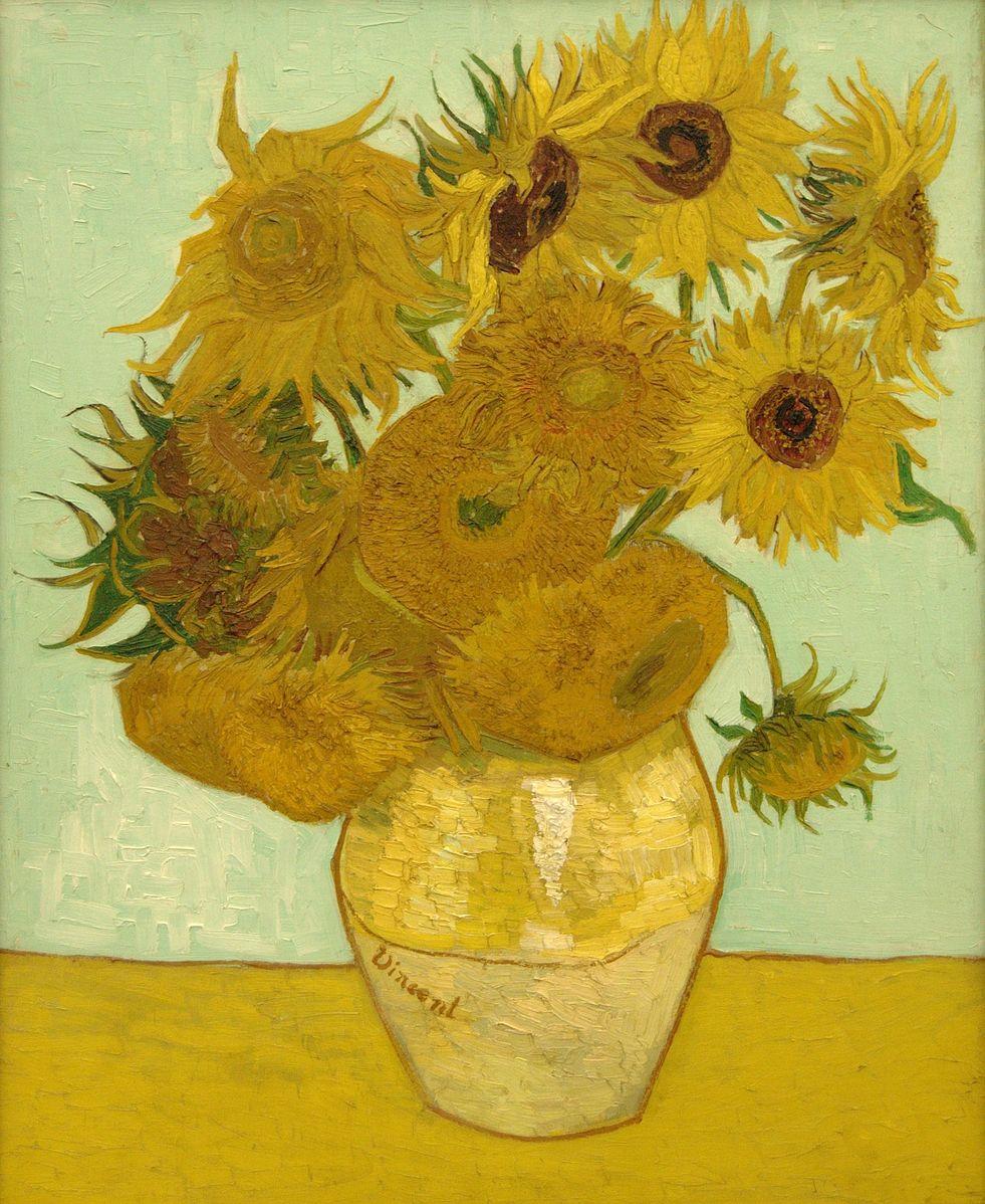 Van Gogh 1888a Vase avec douze tournesols Neue Pinakothek (Munich) (F 456) 91 x 71