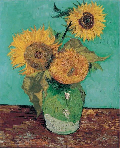 Van Gogh 1888a Vase avec trois tournesols Collection privée (F 453) 73 x 58