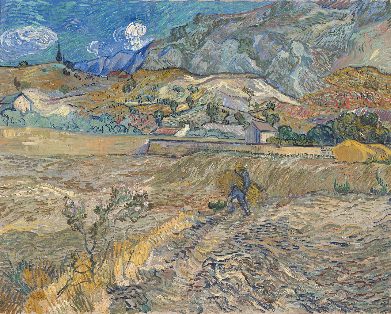 Van Gogh 1889 Landscape_at_Saint-Remy_(Enclosed_Field_with_Peasant) Indianapolis Museum of Arts