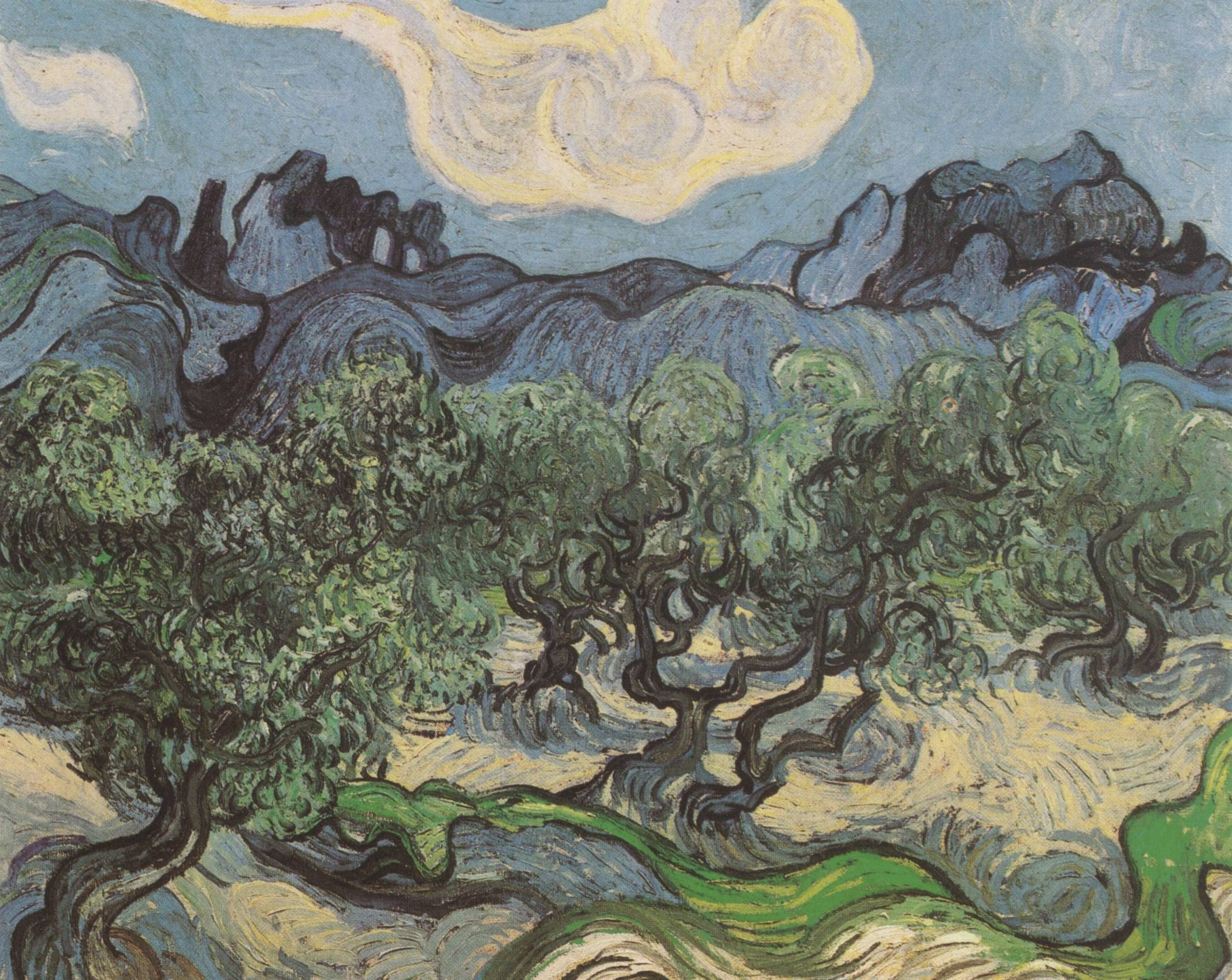 Van Gogh 1889 Olives with Les Alpilles in the Background, Saint-Remy coll priv
