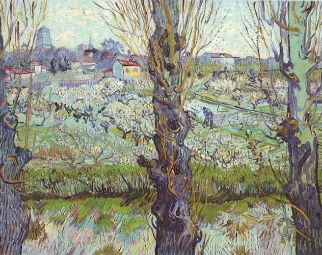 Van Gogh 1889 Verger en fleurs avec une vue d'Arles Neue Pinakothek Munich F516