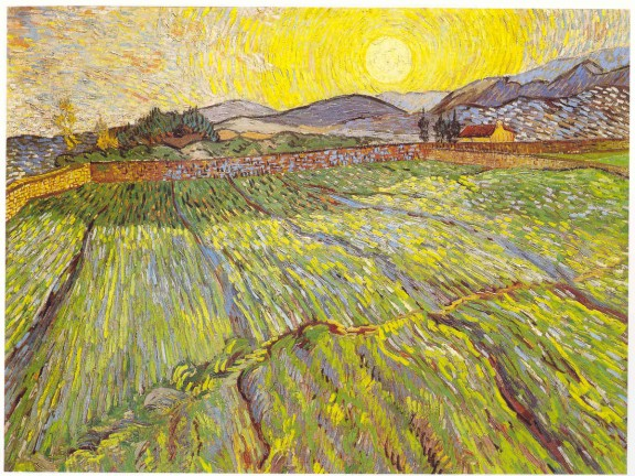 Van Gogh 1889 Wheatfield at sunrise coll priv