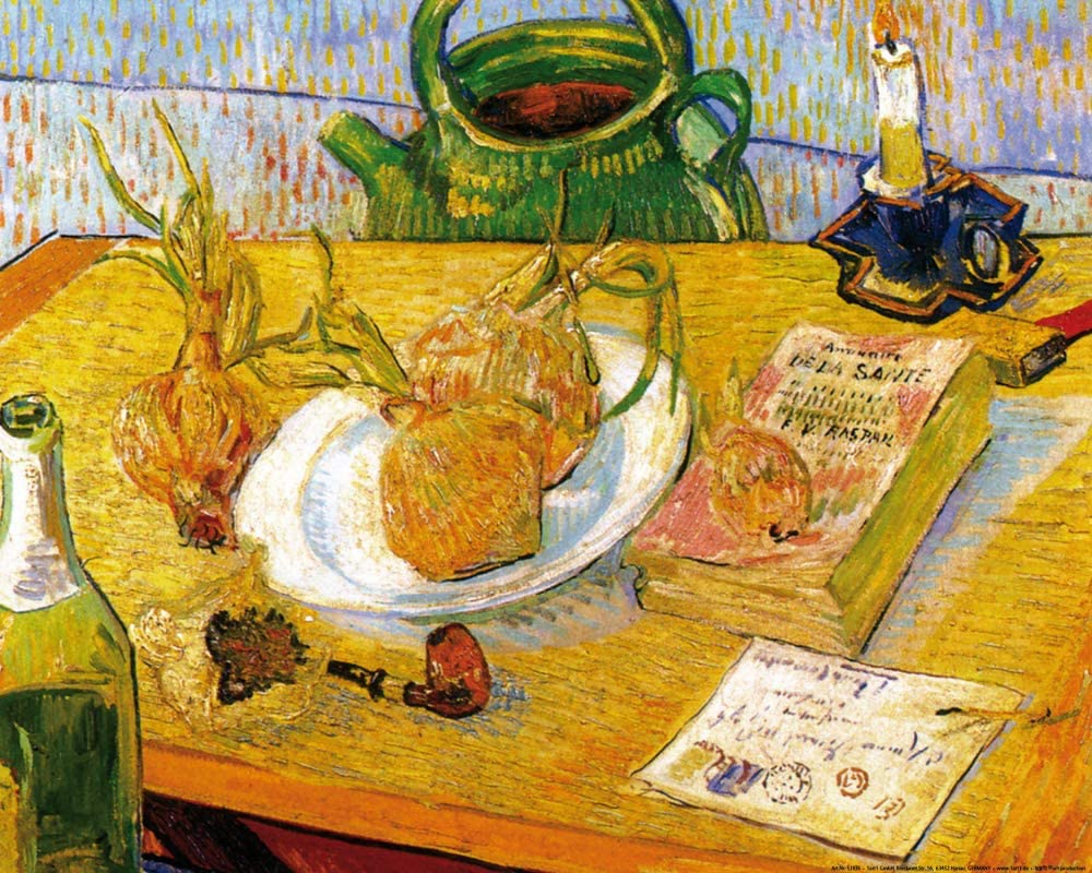 Van Gogh 1889 janvier Nature morte avec planche a dessin et oignons musee Kroller-Muller Otterlo (F 604)