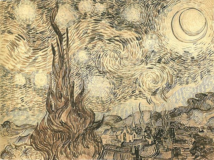 Van Gogh 1889 juin Starry_Night dessin Shchusev State Museum of Architecture.