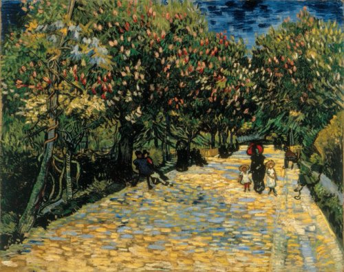 Van Gogh 1889 mai Allee de marronniers en fleurs collection privee F517