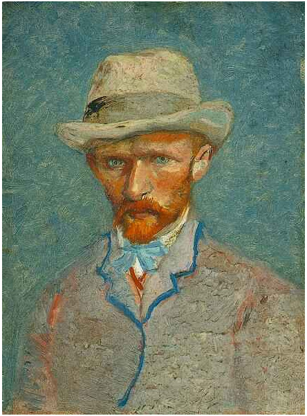 Van gogh 1887 ete Self-Portrait-with-Grey-Felt-Hat Van Gogh Museum (F 296) 19.0 cm x 14.1 cm