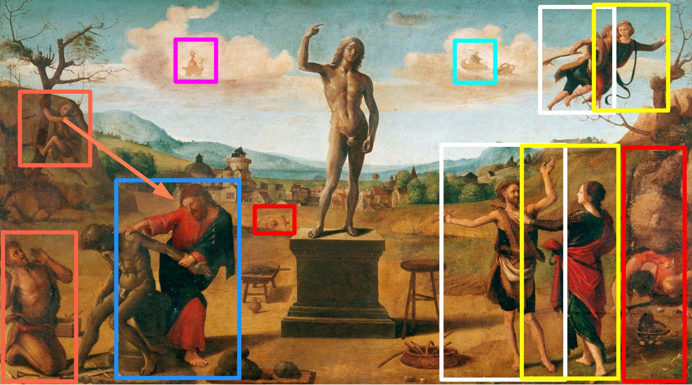 piero di cosimo 1515 ca histoire de promethee alte pinakothek munich schema
