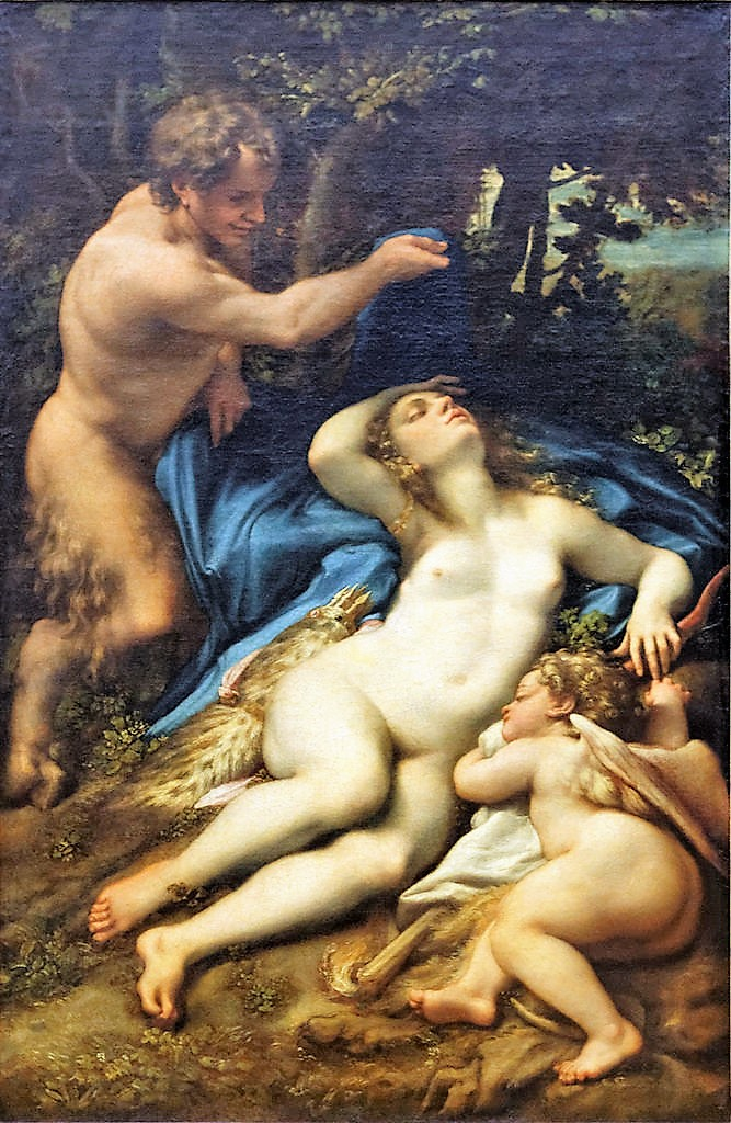 Correge 1525 ca Venus_et_l'Amour_decouverts_par_un_satyre Louvre 1,8 x 1,2 m