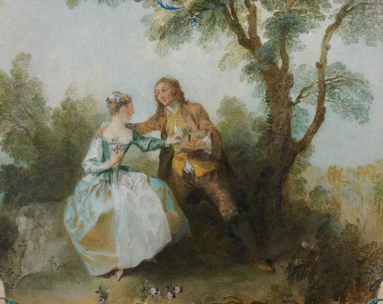 Lancret Jeune homme offrant des fleurs de son chapeau a une jeune fille, dit aussi L'offre des fleurs Musee Jacquemart Andre