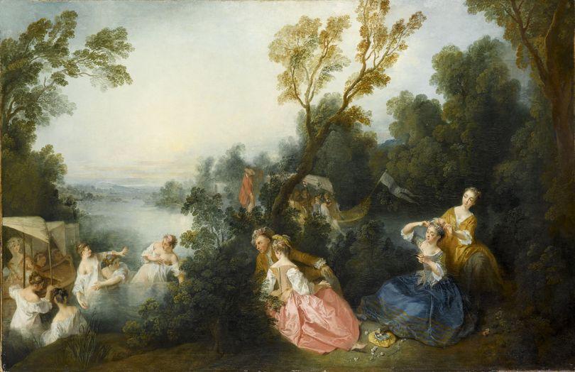 Lancret-W433-1737-ca-Baigneuses-et-spectateurs-dans-un-paysage-Les-Plaisirs-du-bain-Louvre-97-x-145-cm