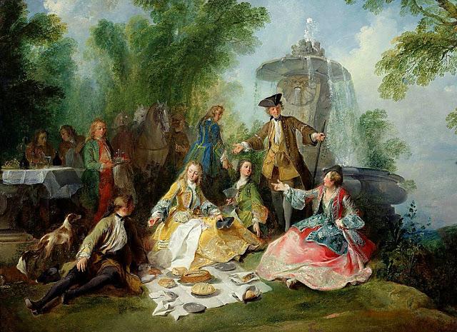 Lancret W445 1737 ca Le repas au retour de la chasse Louvre 97 x 145 cm.