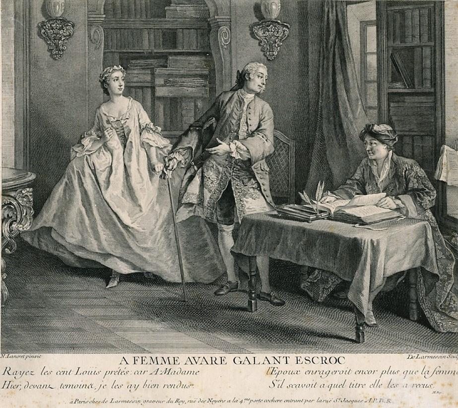 Lancret W465 1740 ca A femme avare galant escroc gravure Larmessin