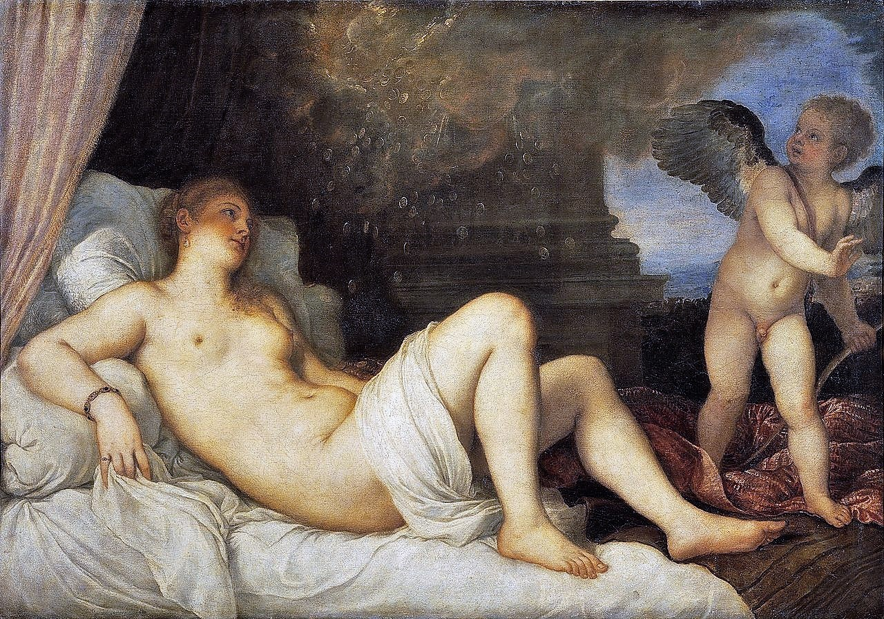 TiTien 1544 Danae et Cupidon, Museo Nazionale Di Capodimonte, Naples radiographie