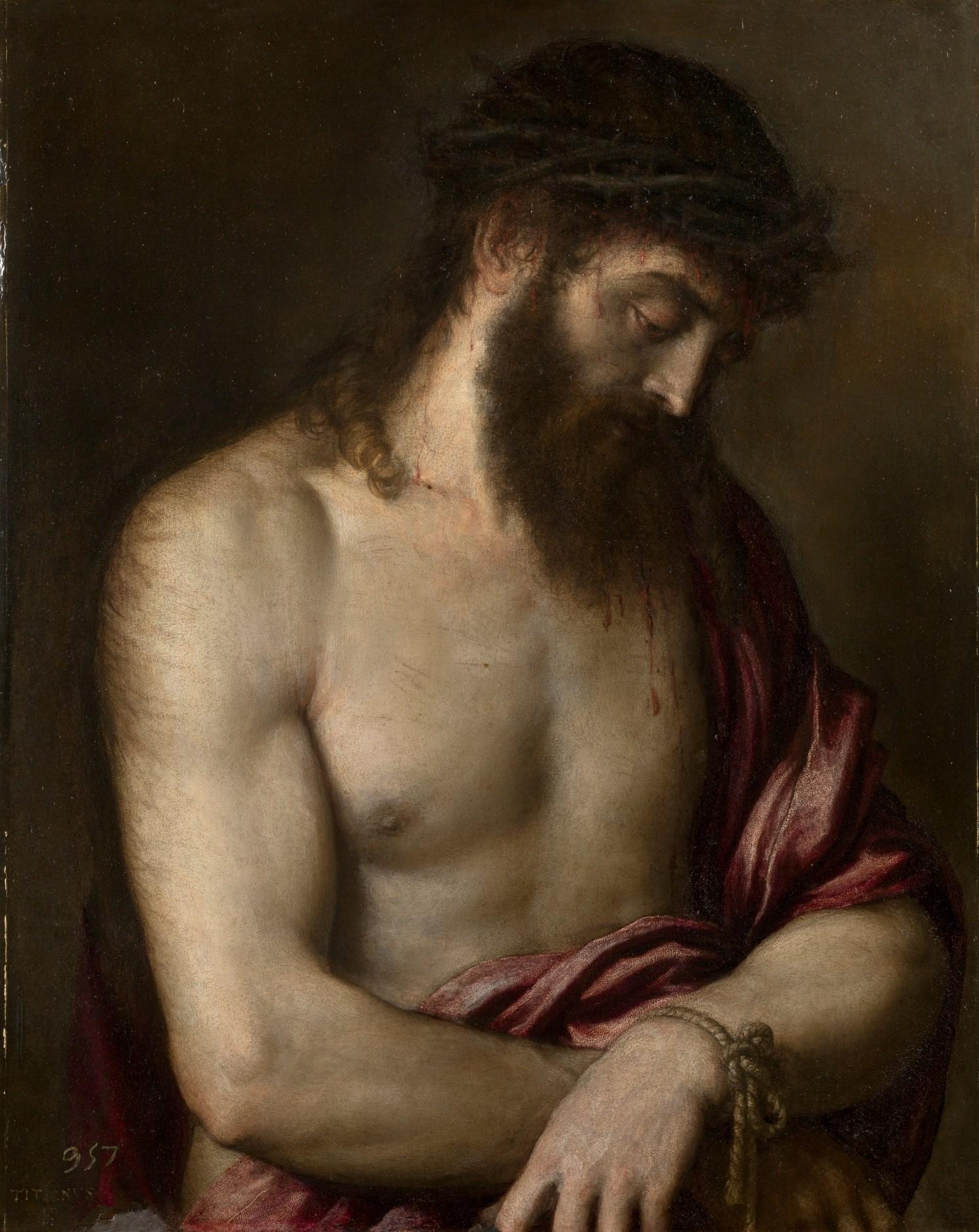 Titien 1547 Ecce homo sur ardoise Prado 69x56 cm