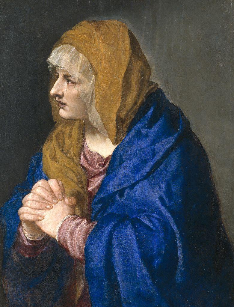 Titien 1553 Mater Dolorosa sur bois Prado 68 x 61 cm
