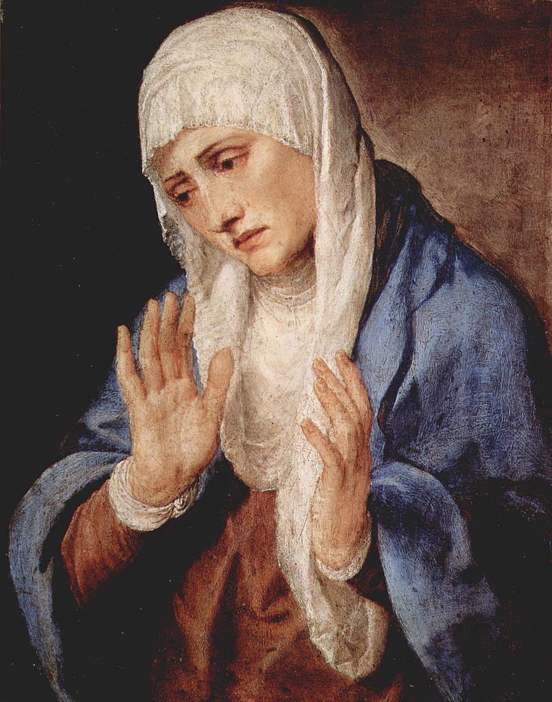 Titien 1555 Mater Dolorosa sur marbre Prado 68 x 53 cm