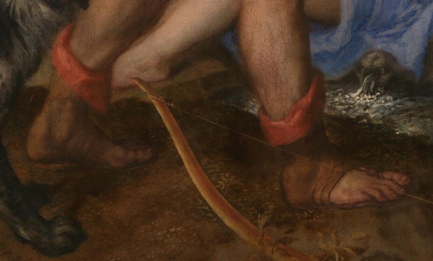Titien 1556-1559 Diane et Acteon, Londres, National Gallery et Edimbourg, National Gallery of Scotland detail bottines